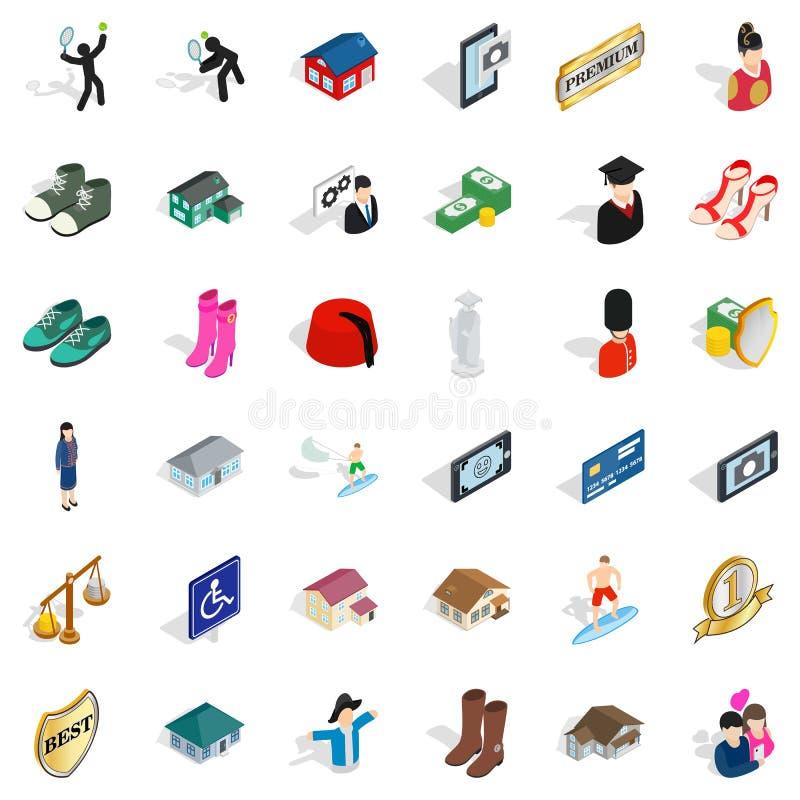 Icônes de couples réglées, style isométrique illustration stock