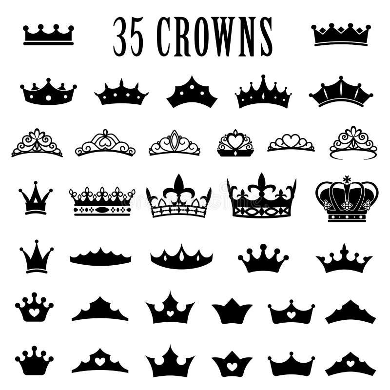 Icônes de couronne Princesse Crown Couronnes de roi Ensemble d'icône Couronnes antiques Illustration de vecteur Style plat photos stock