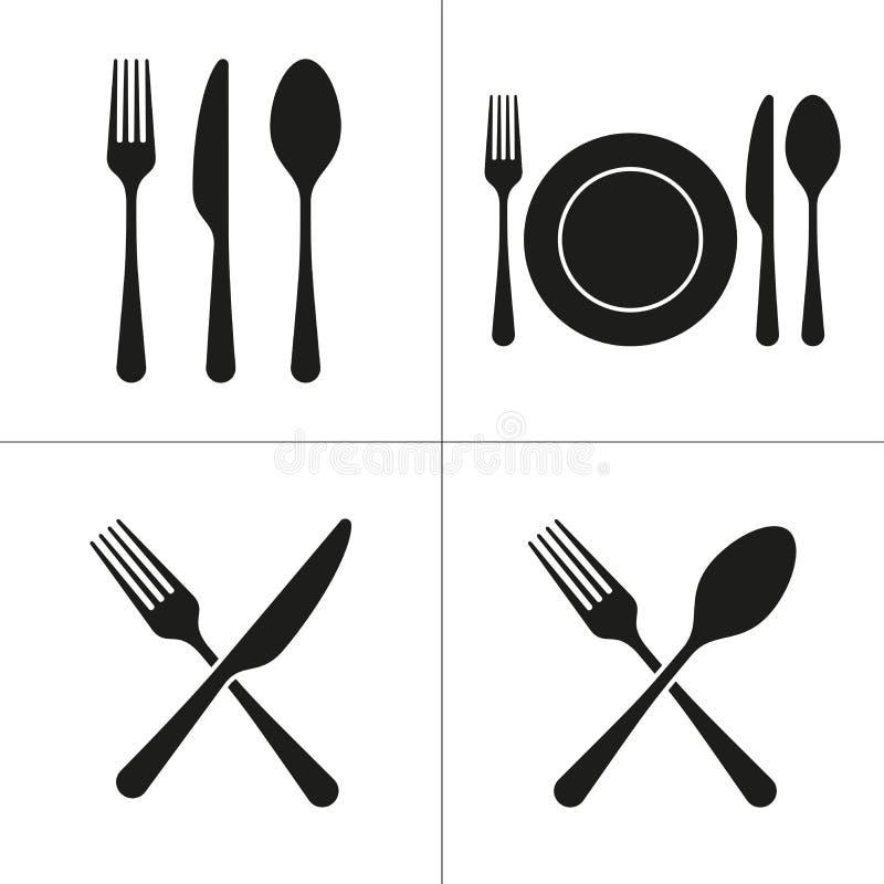 Icônes de couverts avec la fourchette, couteau, cuillère, plat illustration de vecteur