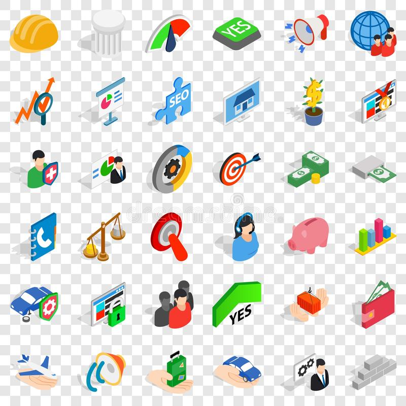 Icônes de créativité réglées, style isométrique illustration de vecteur