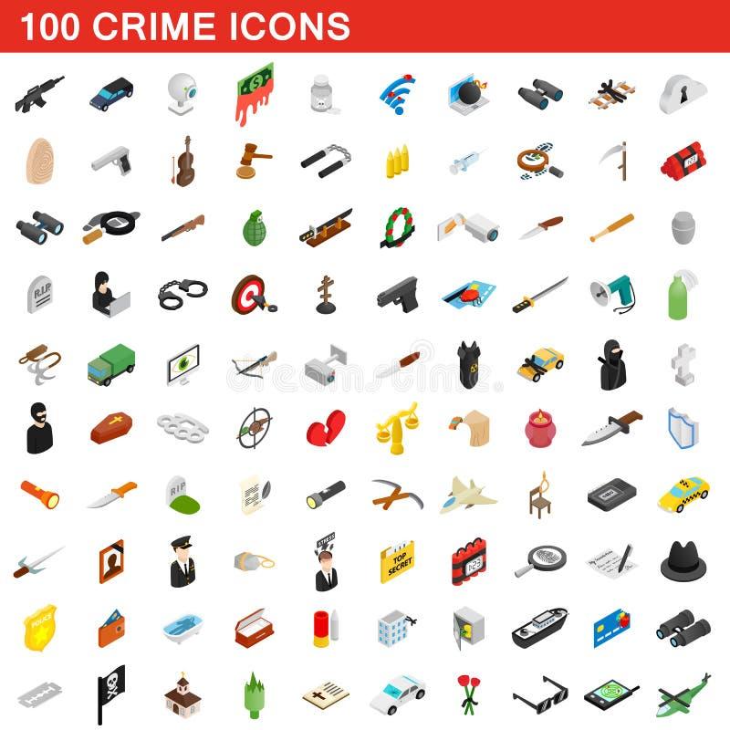 100 icônes de crime réglées, style 3d isométrique illustration libre de droits
