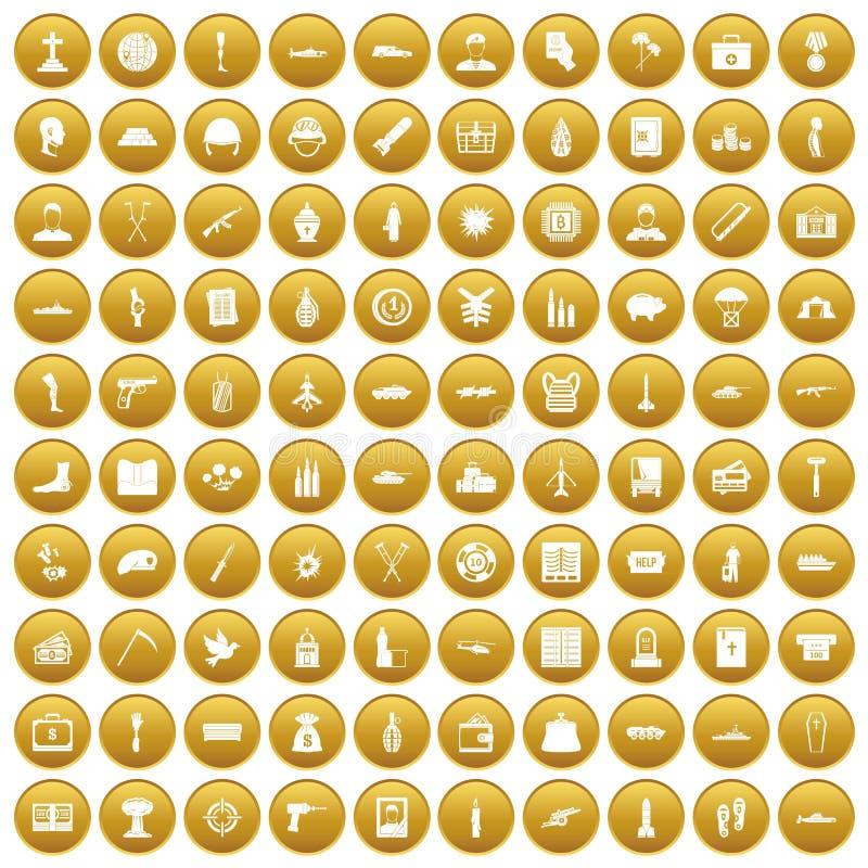 100 icônes de crimes de guerre ont placé l'or illustration stock