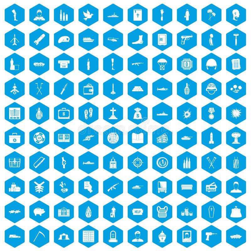 100 icônes de crimes de guerre réglées bleues illustration libre de droits