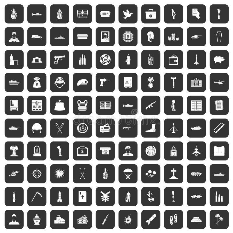 100 icônes de crimes de guerre réglées noires illustration stock