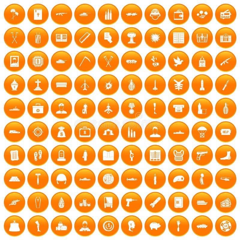 100 icônes de crimes de guerre réglées oranges illustration stock