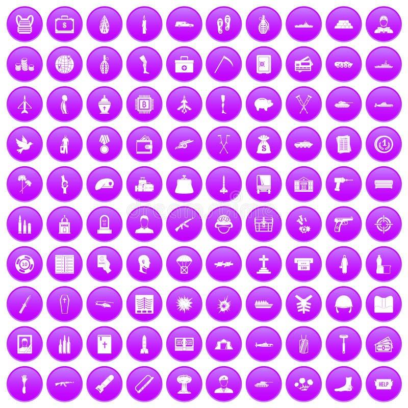 100 icônes de crimes de guerre réglées pourpres illustration libre de droits