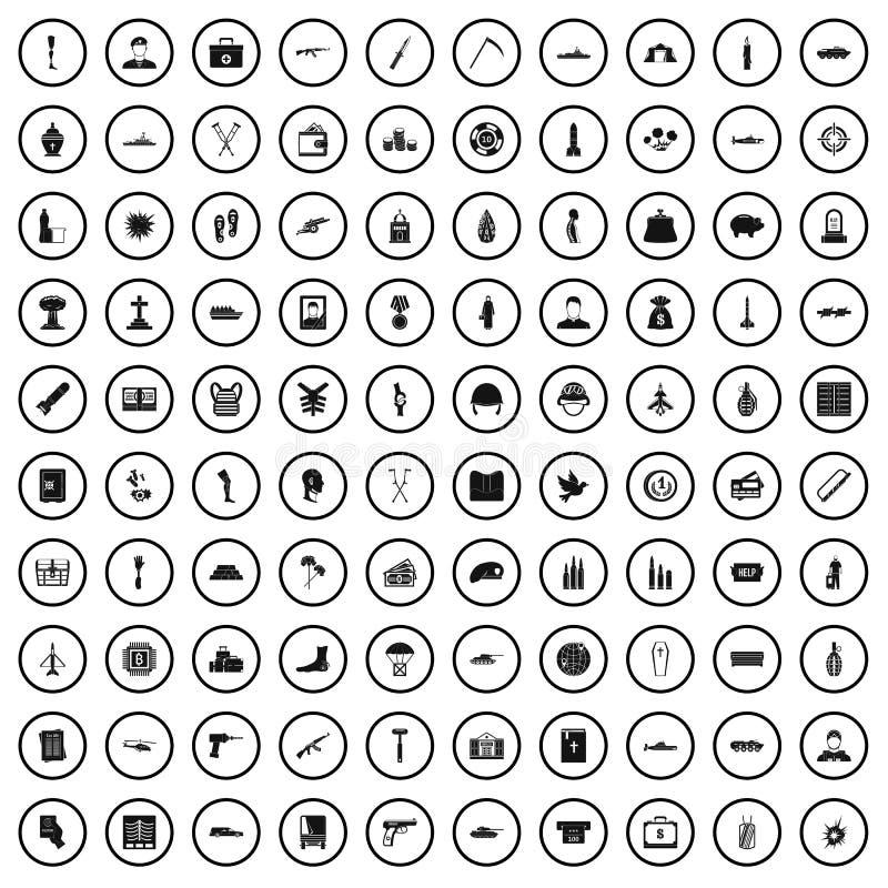 100 icônes de crimes de guerre réglées, style simple illustration libre de droits