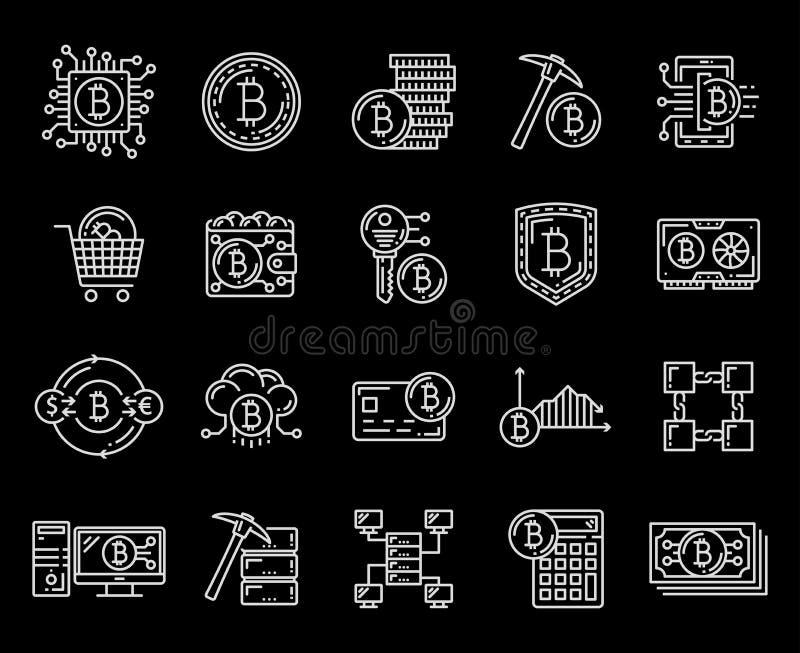 Icônes de criptocurrency et d'exploitation de Bitcoin illustration libre de droits