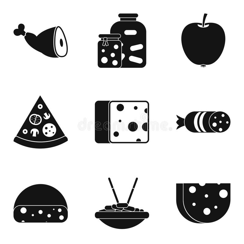 Icônes de cuisine réglées, style simple illustration stock