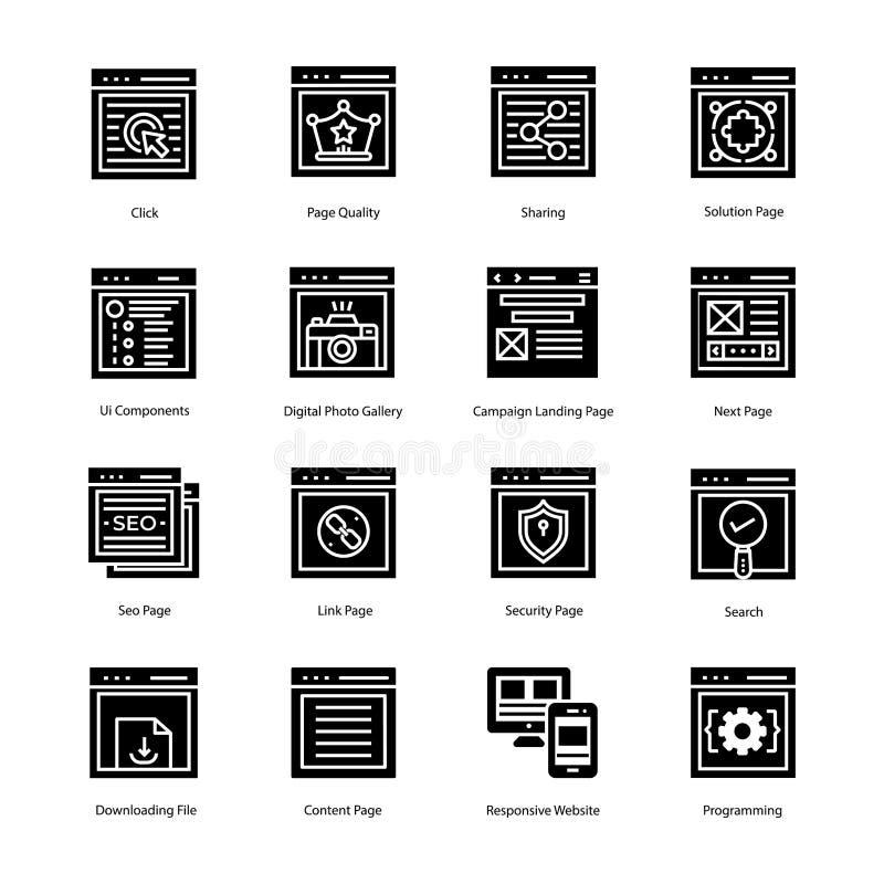 Icônes de débarquement de Glyph de page de site Web photos libres de droits