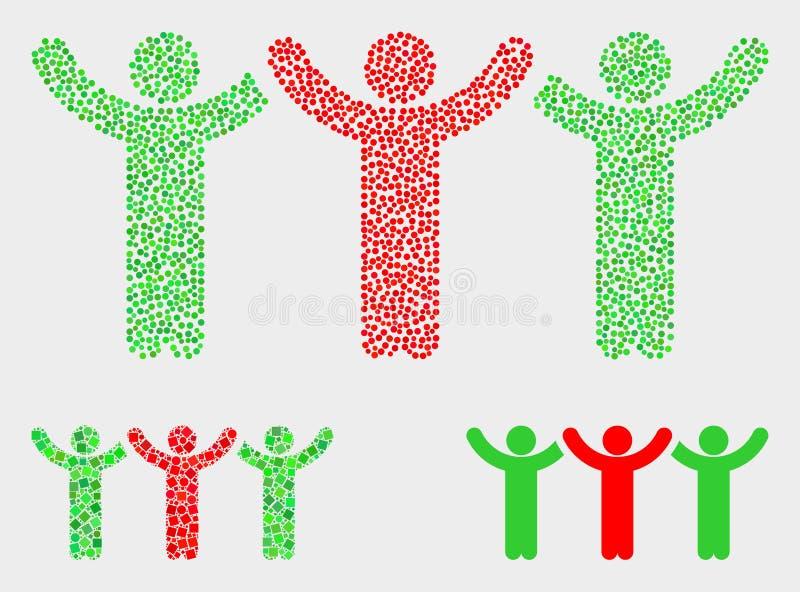 Icônes de danse de personnes de vecteur de pixel illustration libre de droits