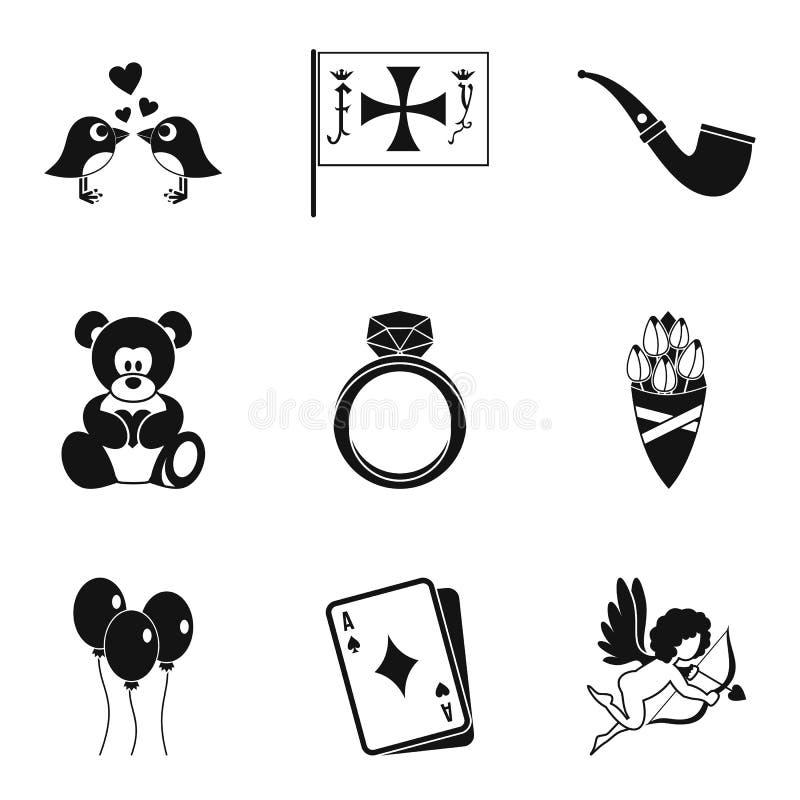Icônes de date de mariage réglées, style simple illustration libre de droits