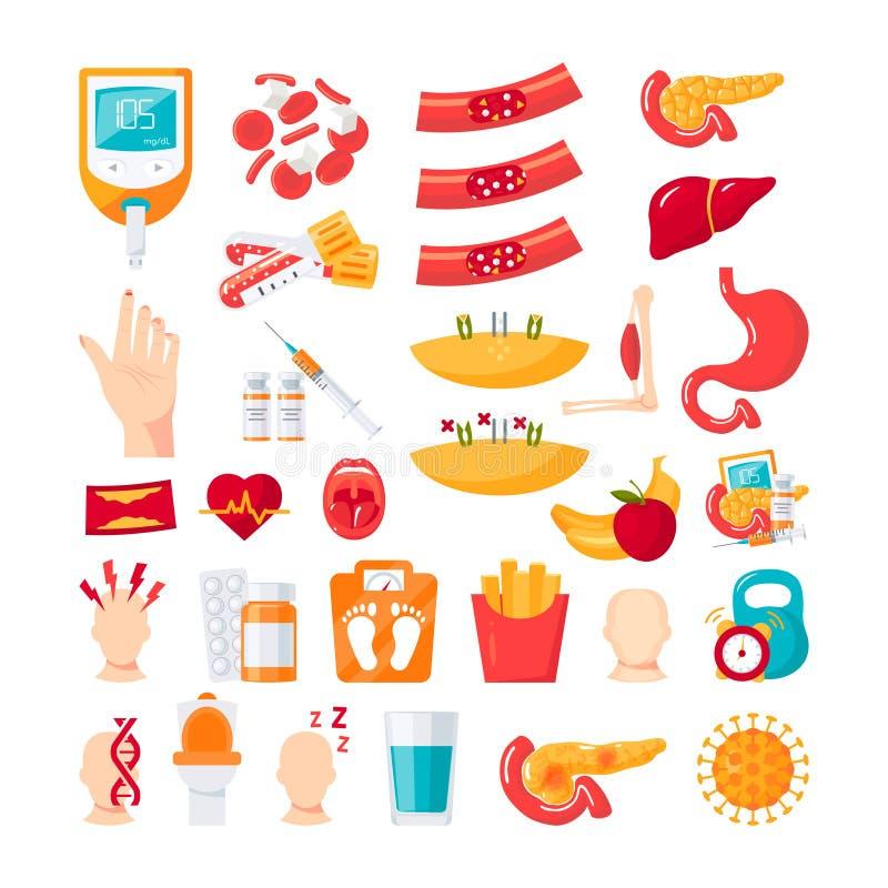 Icônes de diabète dans le style plat, vecteur illustration stock