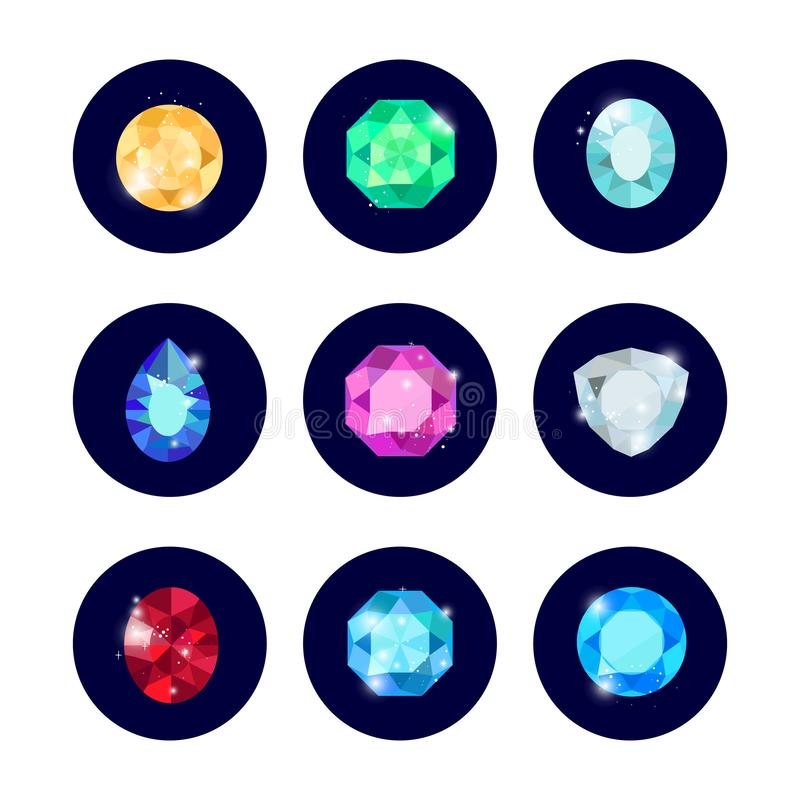 Icônes de diamant d'éclat réglées illustration stock