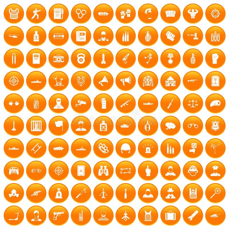 100 icônes de dirigeant réglées oranges illustration stock