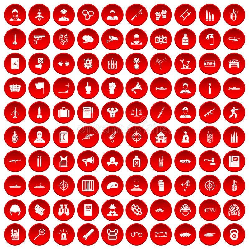 100 icônes de dirigeant réglées rouges illustration stock