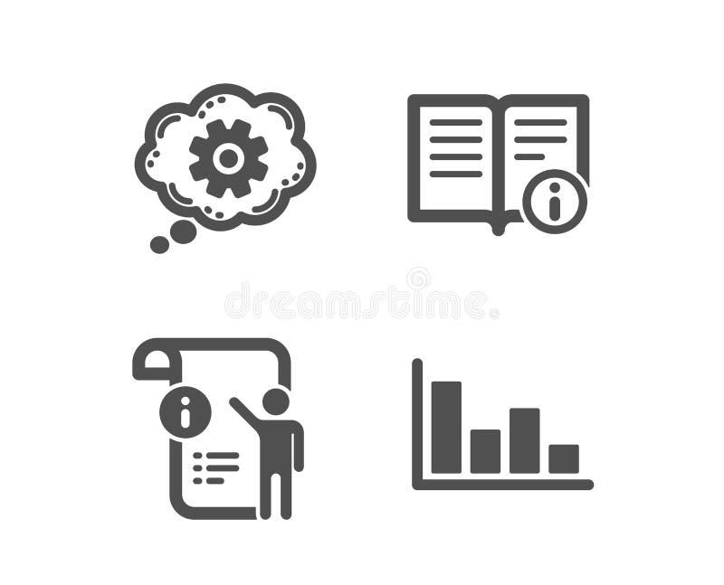 Icônes de Doc. de roue dentée, d'information technique et de manuel Signe d'histogramme Outil d'ingénierie, documentation, l'info illustration stock