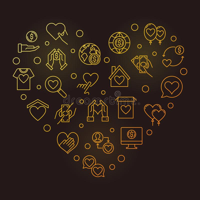 Icônes de donation dans la forme de coeur - illustration d'or de vecteur illustration de vecteur