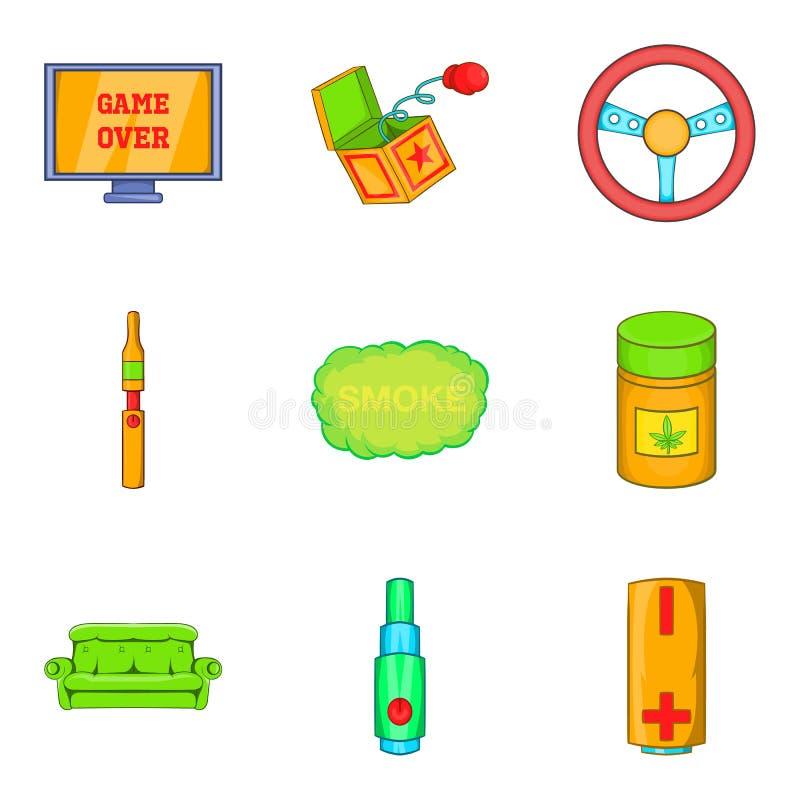 Icônes de drogue réglées, style de bande dessinée illustration de vecteur