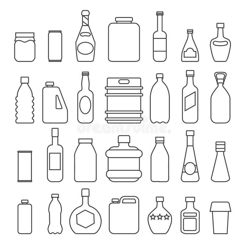 Icônes de empaquetage de boisson illustration stock