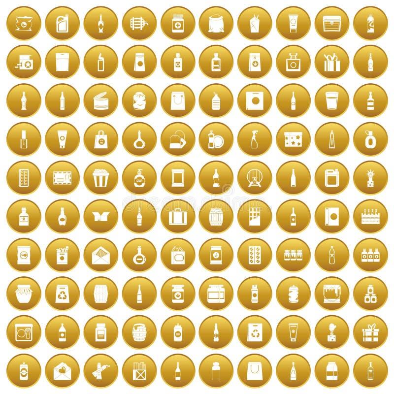 100 icônes de empaquetage ont placé l'or illustration libre de droits