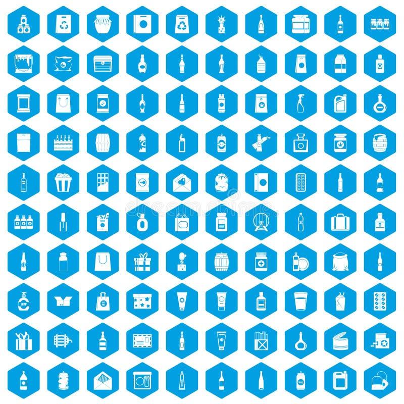 100 icônes de empaquetage réglées bleues illustration stock