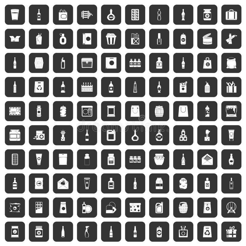100 icônes de empaquetage réglées noires illustration stock