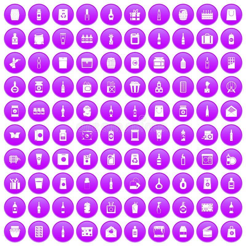 100 icônes de empaquetage réglées pourpres illustration libre de droits