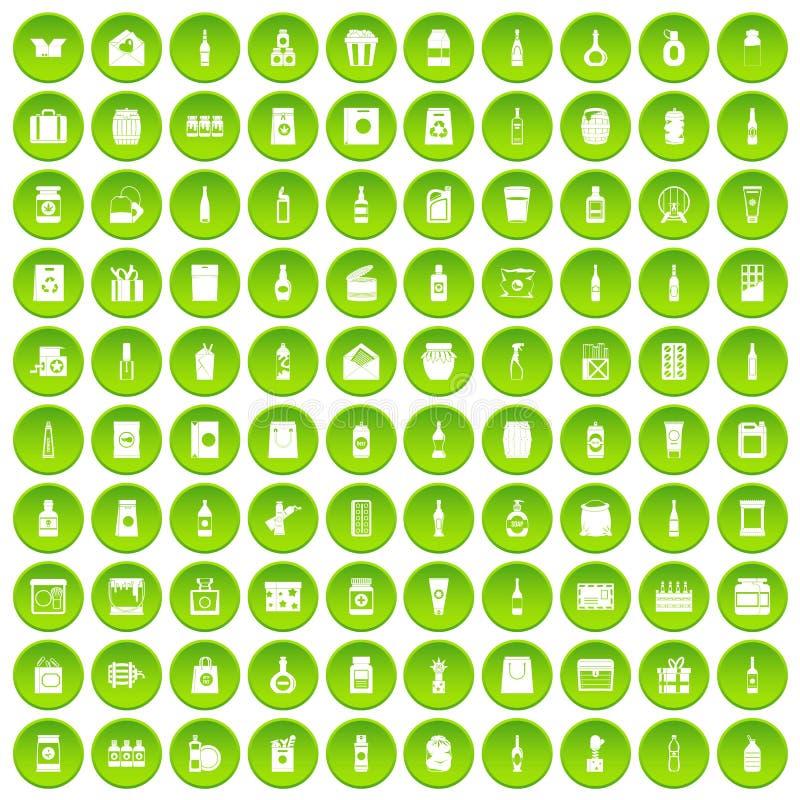 100 icônes de empaquetage réglées vertes illustration stock