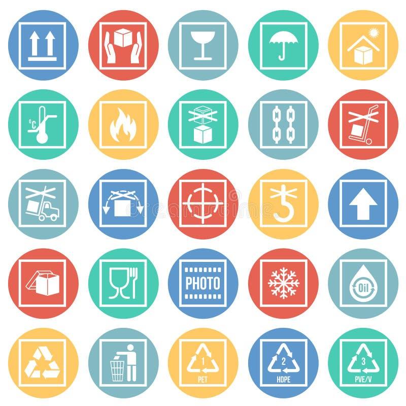 Icônes de empaquetage de symbole sur le fond blanc de cercles de couleur pour le graphique et la conception web Signe simple de v illustration libre de droits