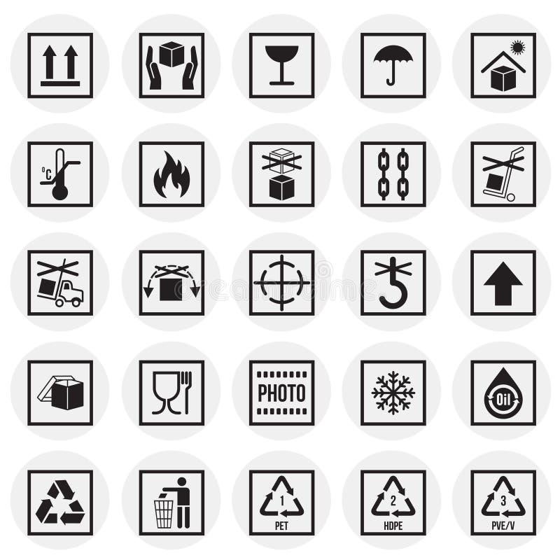 Icônes de empaquetage de symbole sur le fond blanc de cercles pour le graphique et la conception web Signe simple de vecteur Inte illustration libre de droits