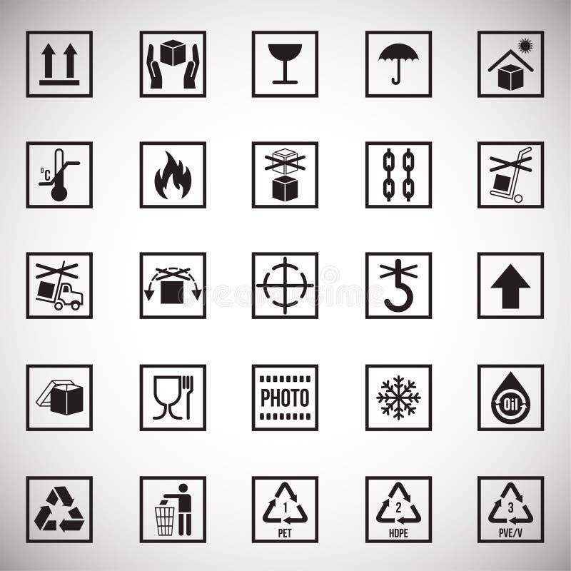 Icônes de empaquetage de symbole sur le fond blanc pour le graphique et la conception web Signe simple de vecteur Symbole de conc illustration libre de droits