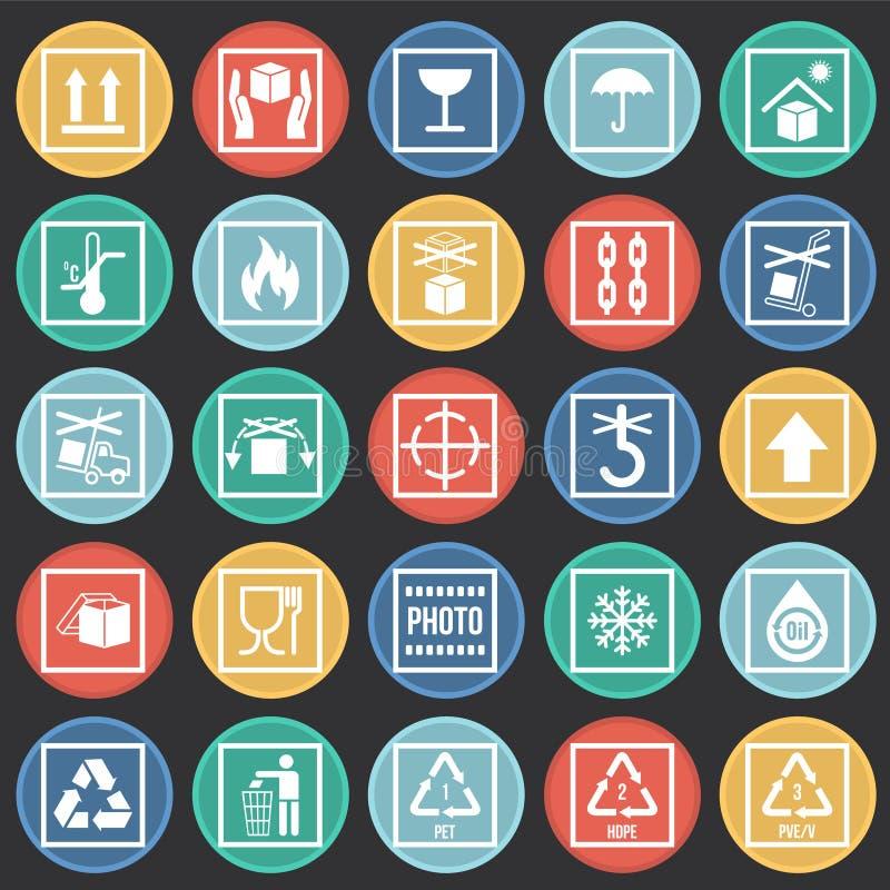 Icônes de empaquetage de symbole sur le fond de cercles de couleur pour le graphique et la conception web Signe simple de vecteur illustration de vecteur
