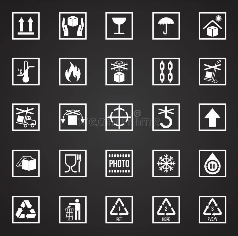 Icônes de empaquetage de symbole sur le fond noir pour le graphique et la conception web Signe simple de vecteur Symbole de conce illustration de vecteur