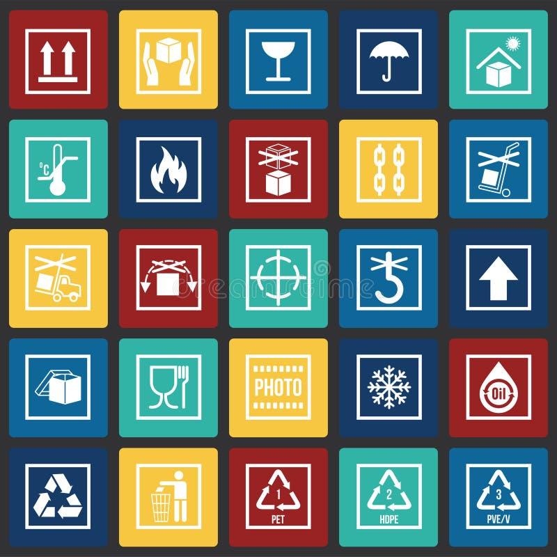 Icônes de empaquetage de symbole sur le fond de places de couleur pour le graphique et la conception web Signe simple de vecteur  illustration libre de droits
