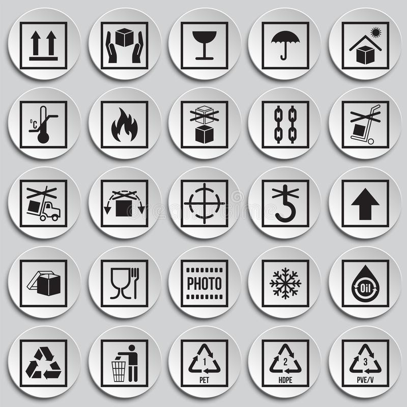 Icônes de empaquetage de symbole sur le fond de plats pour le graphique et la conception web Signe simple de vecteur Symbole de c illustration de vecteur