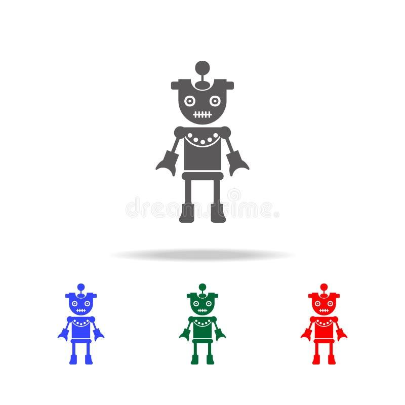 icônes de fille de robot Éléments des robots dans les icônes colorées multi Icône de la meilleure qualité de conception graphique illustration stock