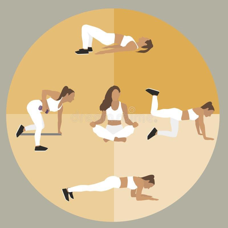 Icônes de filles de sport Divers exercices de sport Illustration plate de vecteur illustration stock