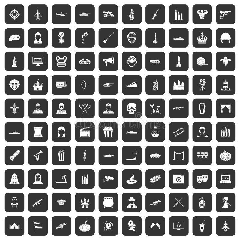100 icônes de film réglées noires illustration libre de droits