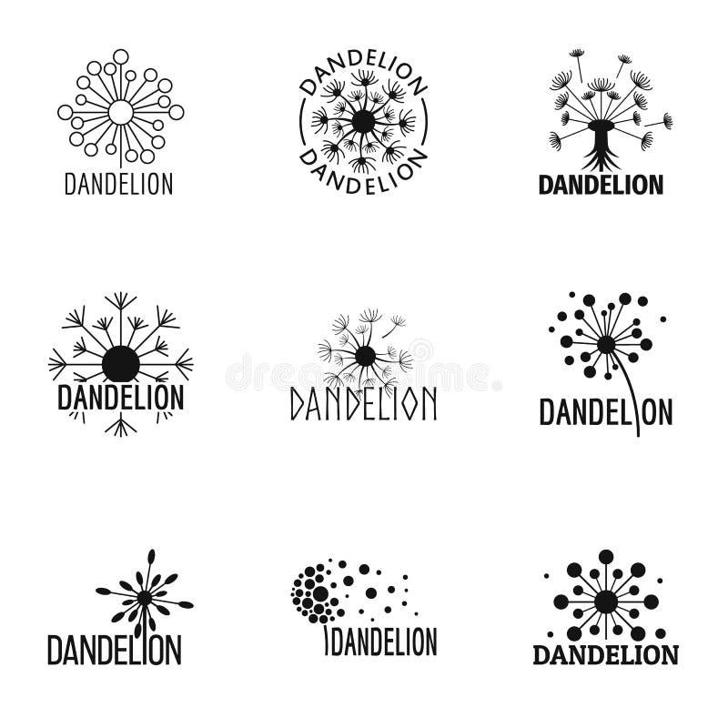 Icônes de fleur de pissenlit réglées, style simple illustration de vecteur