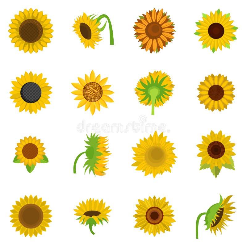 Icônes de fleur de tournesol réglées d'isolement illustration de vecteur
