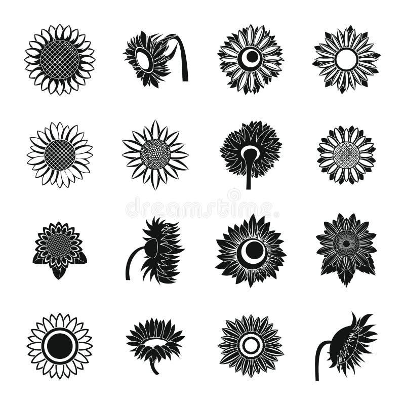 Icônes de fleur de tournesol réglées, style simple illustration stock