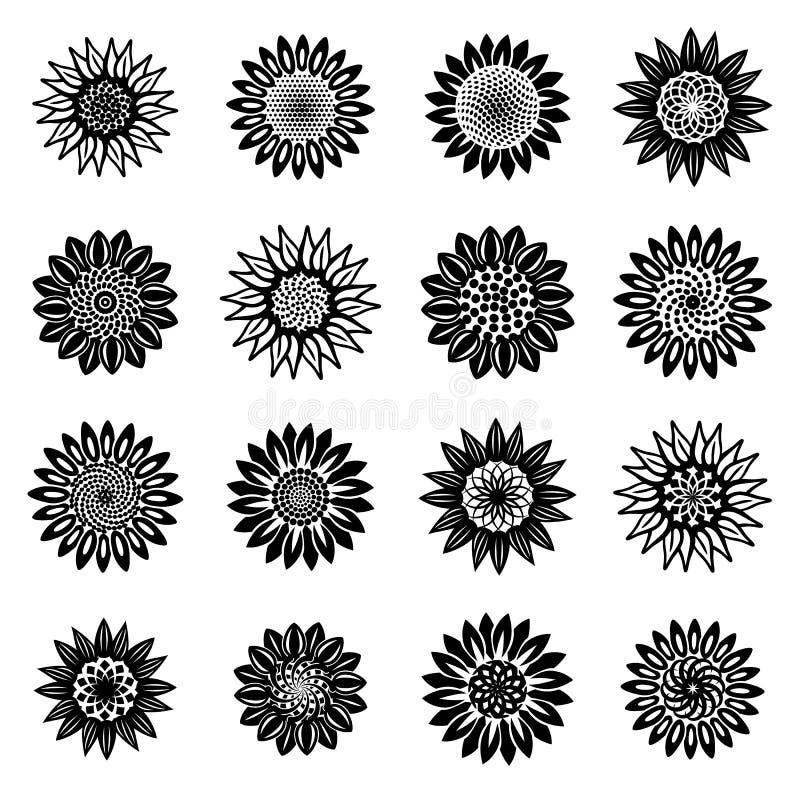 Icônes de fleur de tournesol réglées, style simple illustration de vecteur