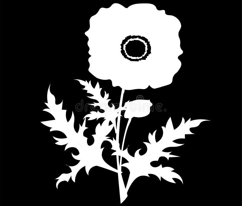 Icônes de fleurs de pavot réglées Le vecteur a isolé des symboles botaniques des fleurs rouges de floraison de pavots Bouquets fl illustration libre de droits