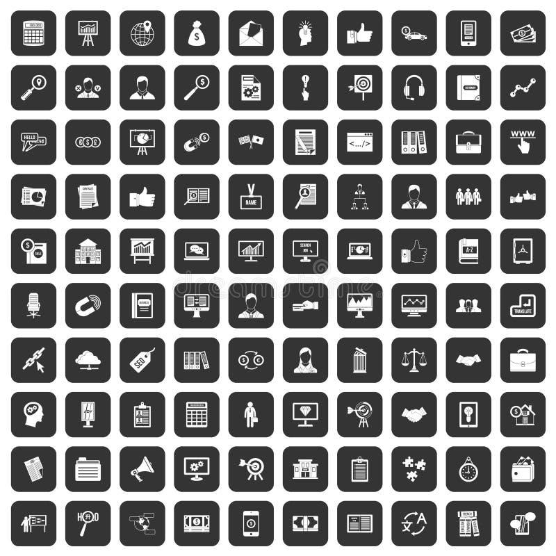 100 icônes de formation d'affaires réglées noires illustration stock