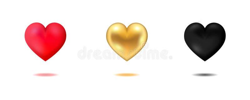 3 ic?nes de forme de coeur d'isolement sur le blanc illustration de vecteur