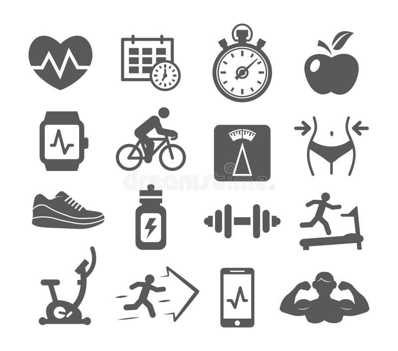 Icônes de forme physique et de gymnase illustration de vecteur