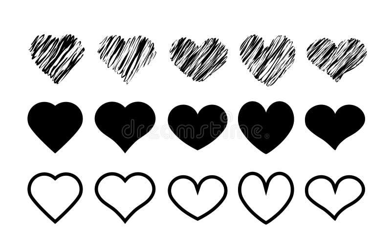Icônes de formes de coeur de conception réglées Illustration simple 15 du coeur l illustration de vecteur