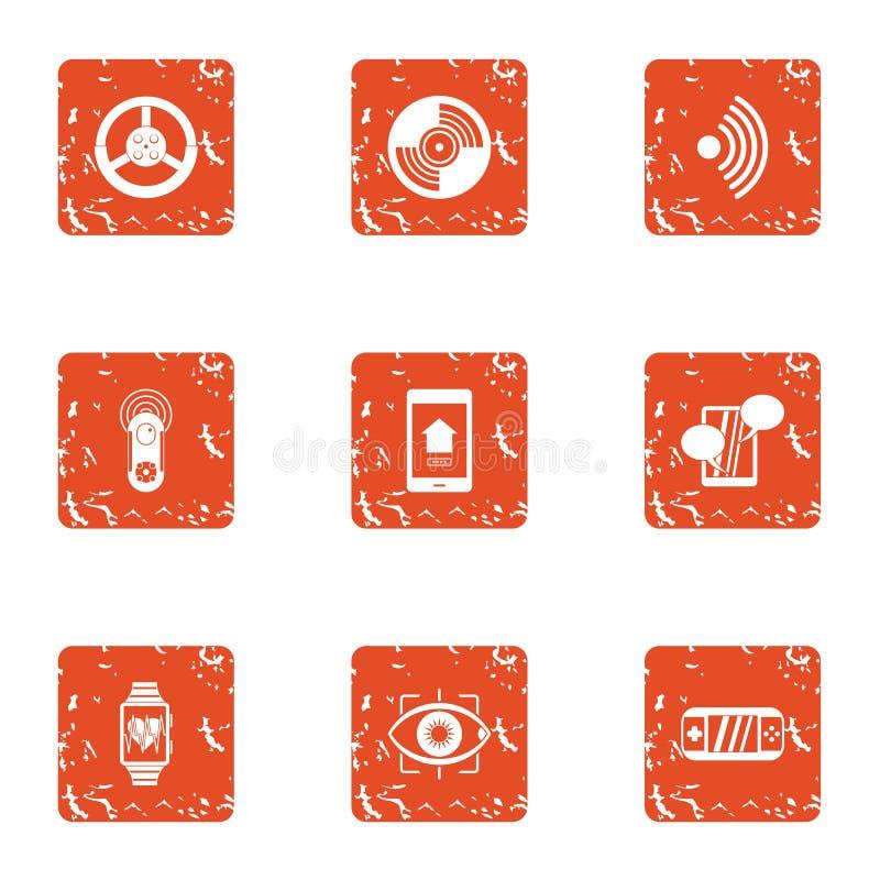 Icônes de fréquence du pouls réglées, style grunge illustration stock