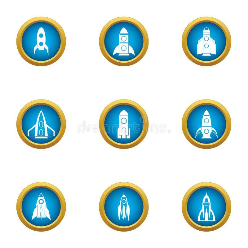 Icônes de fusée d'enfants réglées, style plat illustration libre de droits
